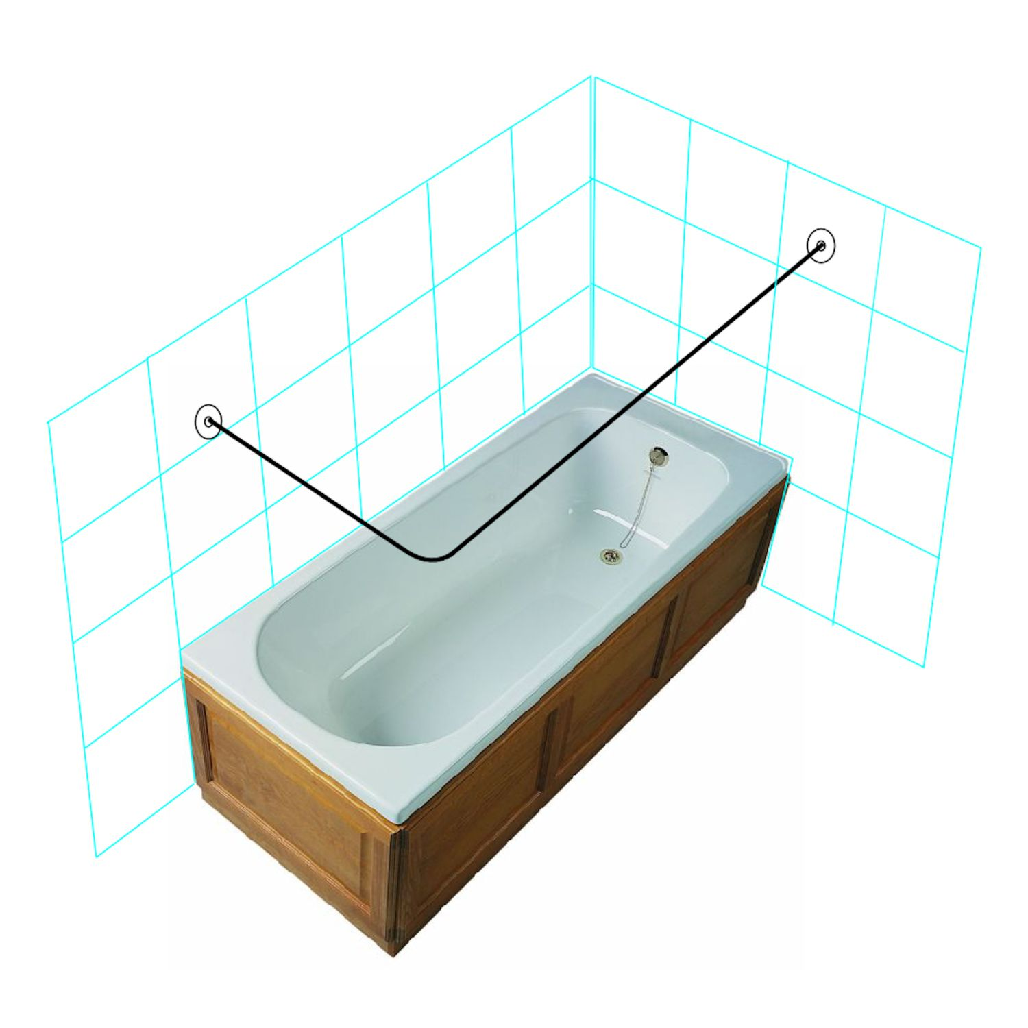 L Shape Wall to Wall Shower Curtain Rail Kit - Stainless Steel ...