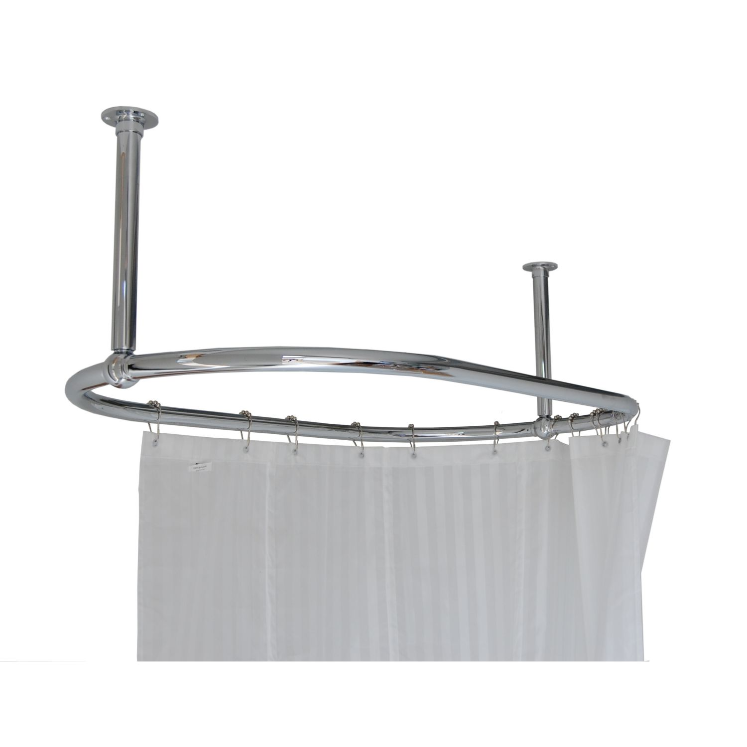Traditional Oval Victorian Chrome Shower Curtain Rail 1135 x 640mm ...