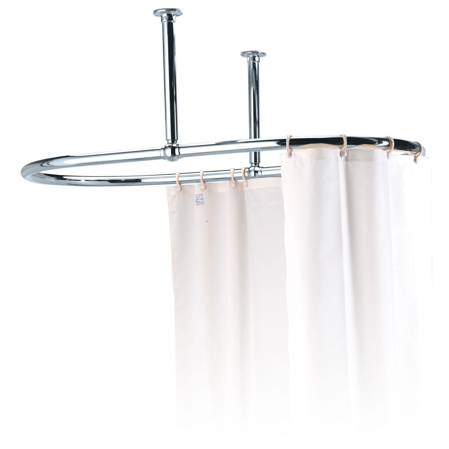 Traditional Oval Shower Curtain Rail 1100mm X 690mm Chrome Side Ceiling Stays