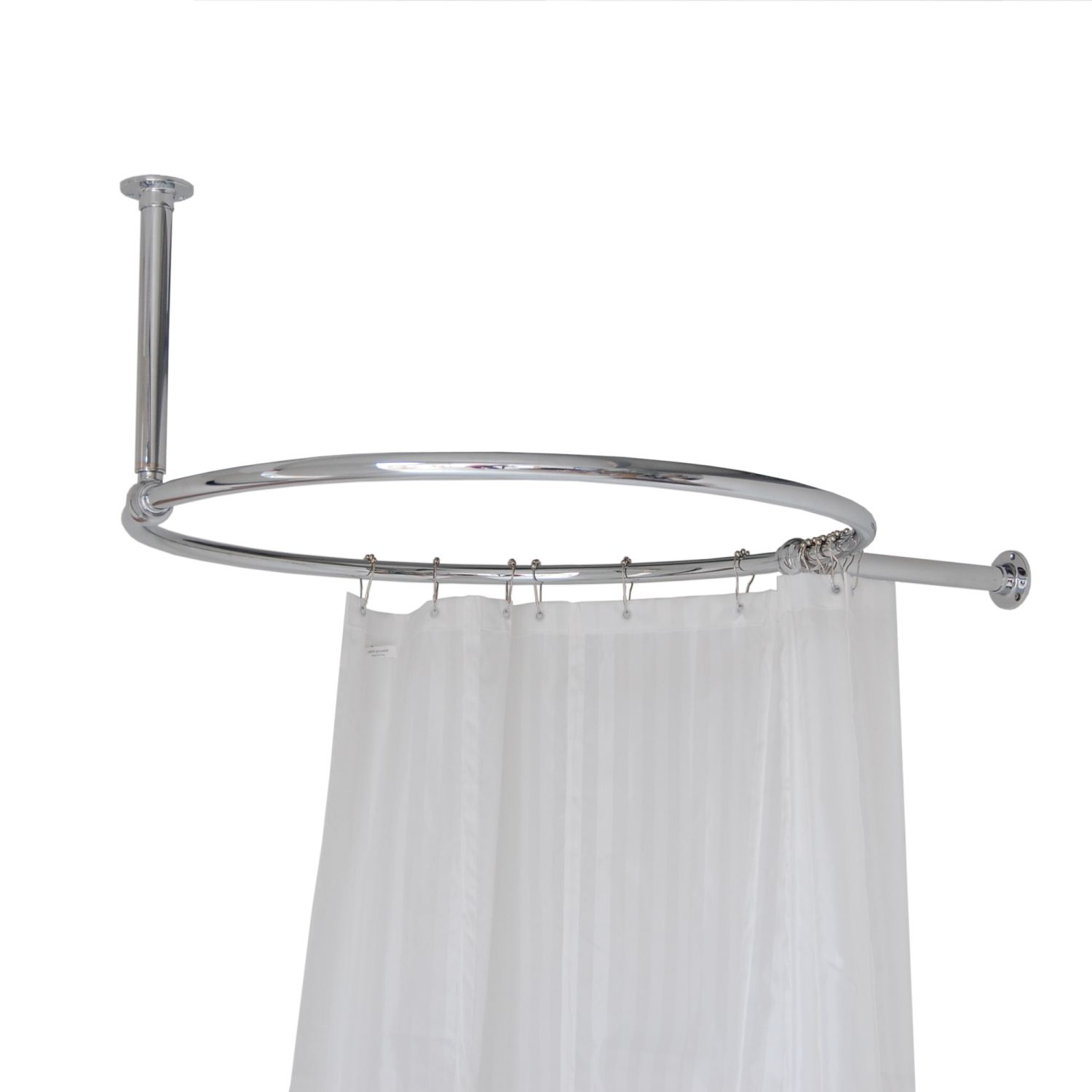 Traditional Round Chrome 850mm Shower Curtain Rail
